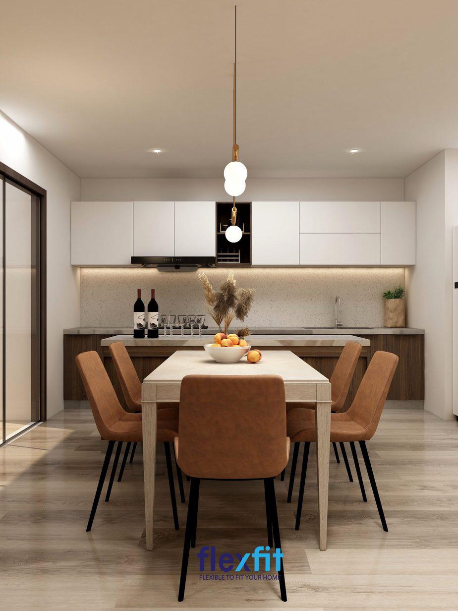 Không gian bếp nổi bật với màu sắc nội thất bếp trang nhã và sang trọng.