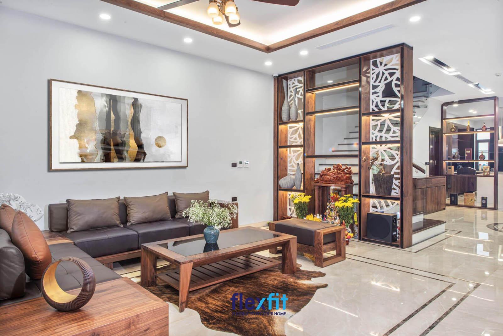 Vách ngăn trang trí mang đến vẻ đẹp hoàn hảo, giàu tính thẩm mỹ cho phòng khách