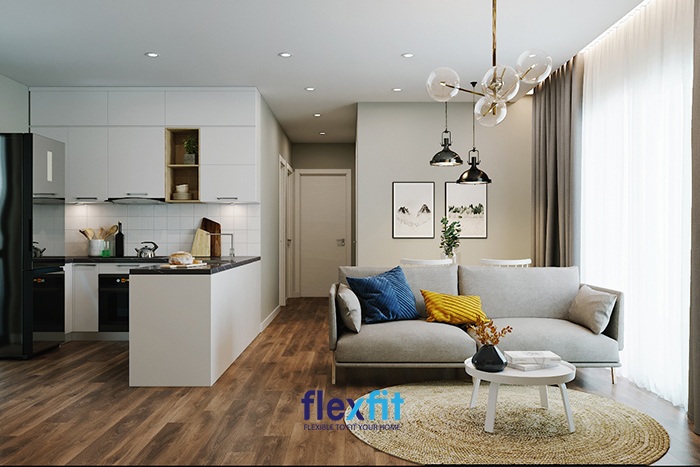 Sử dụng bàn đảo bếp làm vách ngăn phân chia phòng khách và phòng bếp là một ý tưởng không tồi với những căn phòng có diện tích hạn chế