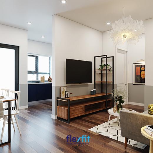 Sử dụng vách ngăn để ngăn cách phòng khách và phòng bếp mang đến sự riêng tư nhất định mà vẫn đảm bảo độ thoáng
