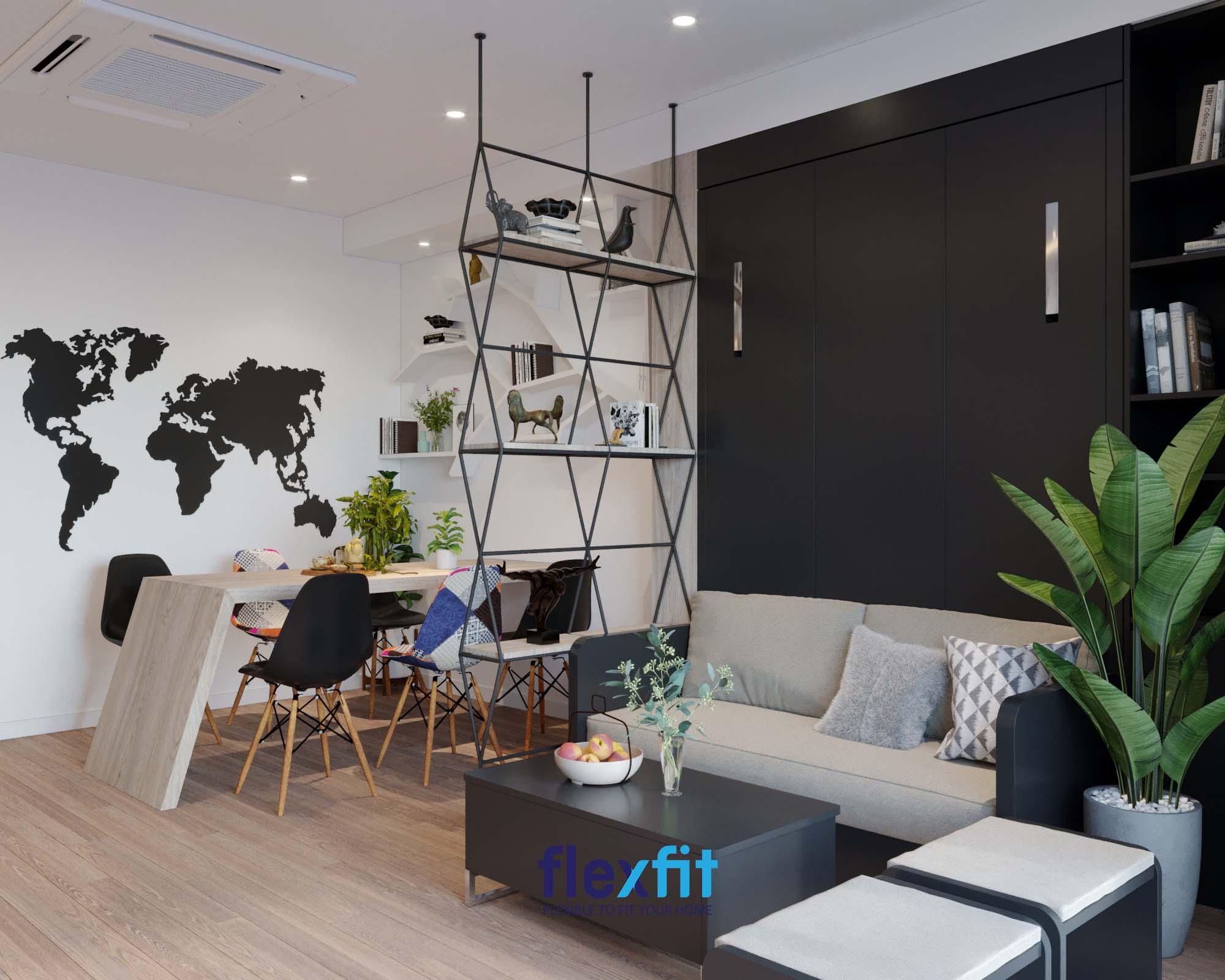 Bất cứ vị khách nào ghé thăm nhà bạn cũng sẽ phải thích thú, trầm trồ trước kệ trang trí kim loại sơn đen kết hợp gỗ vân sáng tạo dáng hình học kiểu cách làm thành vách ngăn phân chia phòng khách và phòng ăn như thế này