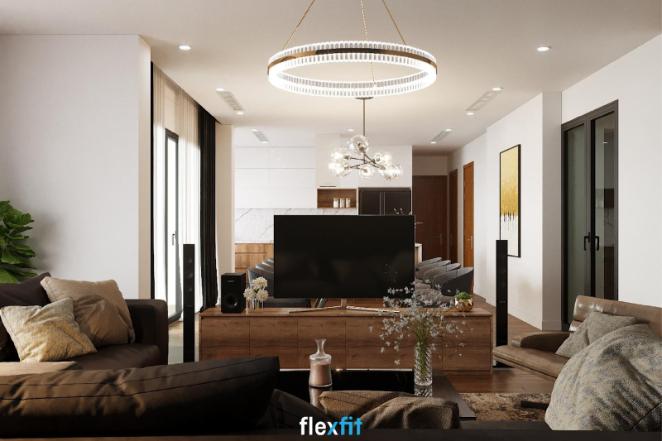 Kệ ti vi màu nâu gỗ mộc kết hợp với tivi, loa đài sẽ là vách ngăn lửng đầy độc đáo để ngăn chia không gian tiếp khách với không gian ăn uống của bạn đấy!