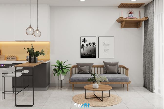 Hãy thử thiết kế bàn đảo bếp bằng gỗ, chân kim loại sơn đen dài hơn một chút để tăng diện tích sử dụng vào tạo nên sự ngăn cách nhẹ nhàng giữa phòng bếp và phòng khách như thế này