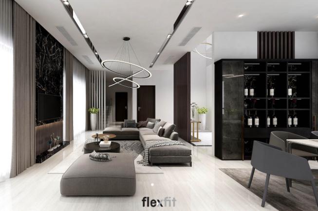 Các vách ngăn gỗ hình cột ngăn cách phòng khách với cầu thang, khu vực vệ sinh sẽ là các điểm nhấn tinh tế cho không gian và giúp cho vượng khí không thất thoát ra bên ngoài