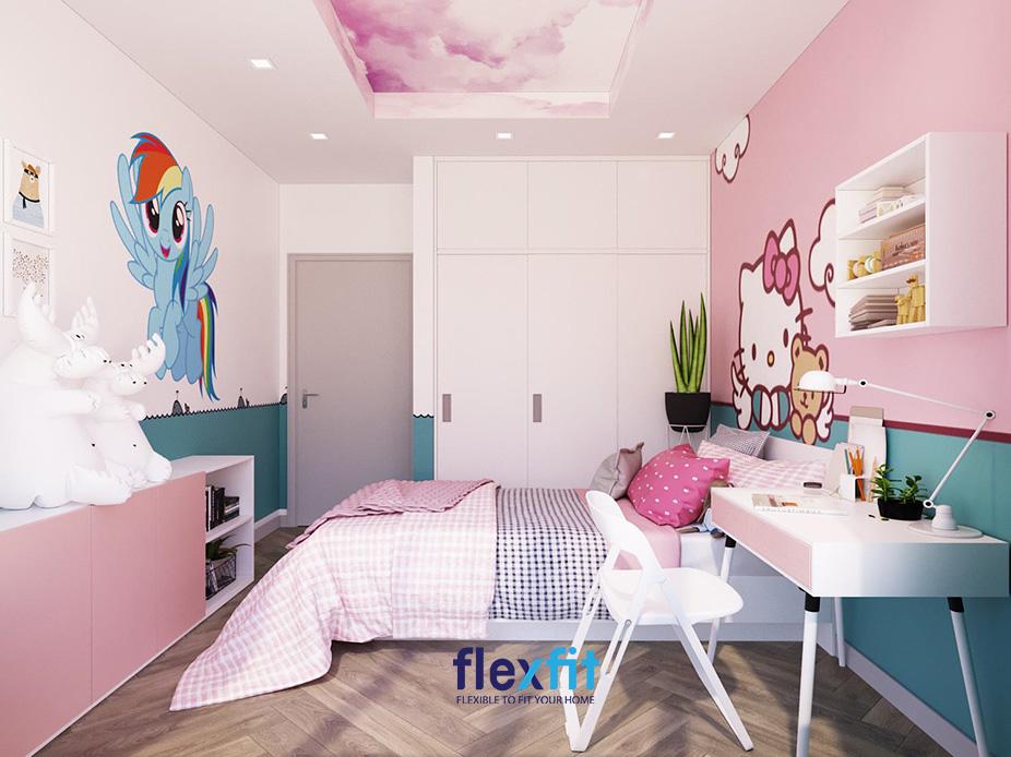 Điểm cộng của mẫu tủ quần áo này là thiết kế chìm tường, kịch trần, sát sàn, cánh đẩy, màu trắng giúp tiết kiệm diện tích và mở rộng không gian lên rất nhiều