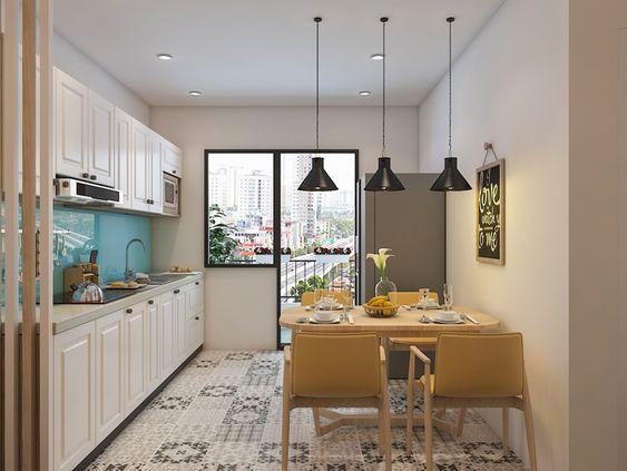 Căn bếp có view hướng ra ngoài cùng ô cửa chính rộng, thoáng mang giúp căn bếp tránh được mùi ẩm thấp do nấu nướng, sinh hoạt.