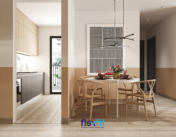 Nội thất gỗ được sử dụng nhiều trong thiết kế nội thất phòng bếp cho người mệnh Hỏa.