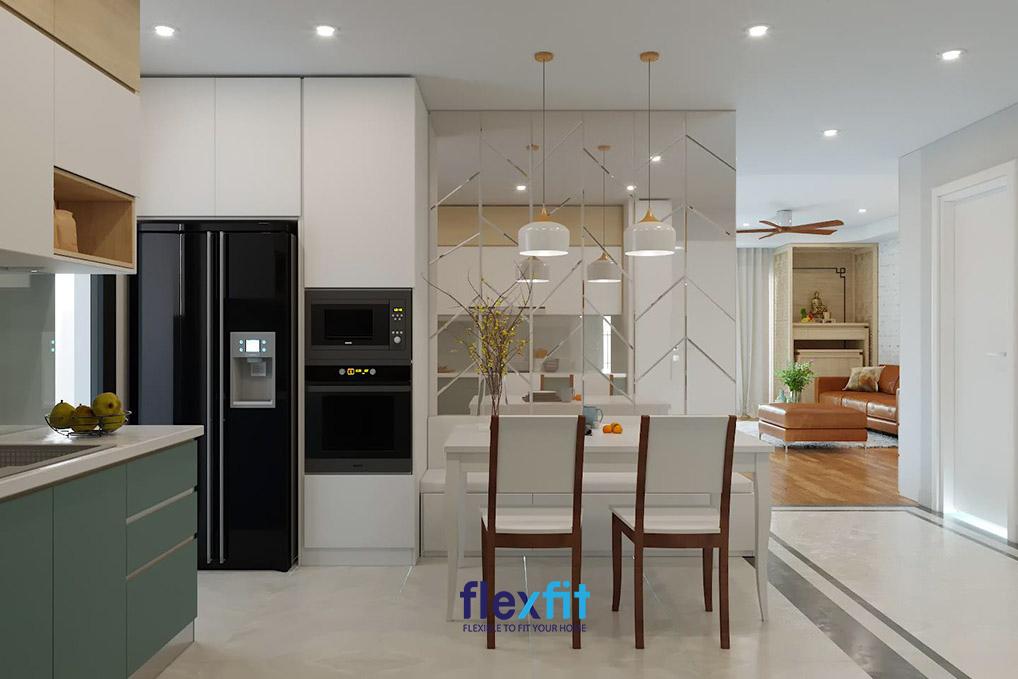 Căn bếp dự án Ngoại Giao Đàn đảm bảo yếu tố phong thủy và thẩm mỹ hiện đại.