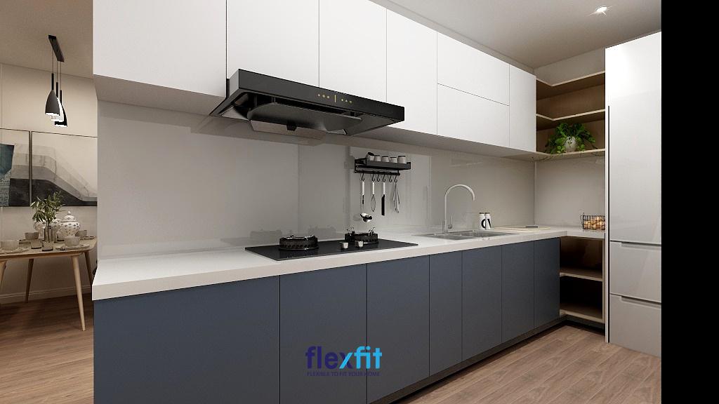 Không gian bếp hiện đại với nội thất phù hợp gia chủ mệnh Thủy.