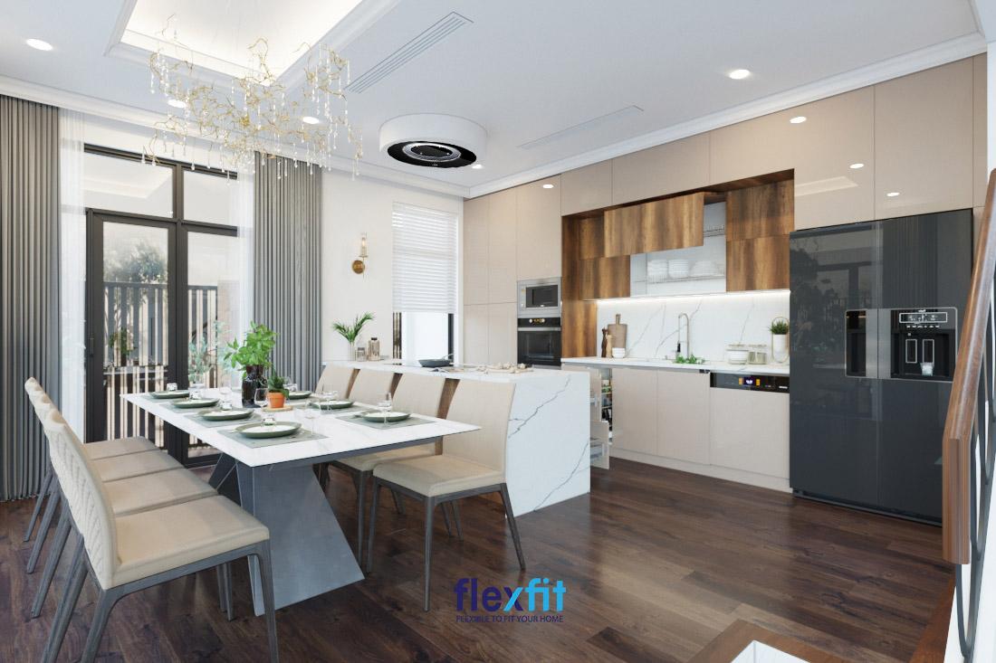 Không gian bếp kết hợp nội thất gỗ và kim loại sang trọng trong dự án Vinhomes Green Bay.