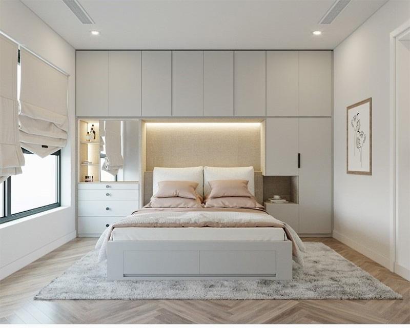 Mẫu giường ngủ gỗ công nghiệp có ngăn kéo tích hợp tủ quần áo và kệ trang trí cho căn phòng thêm nổi bật