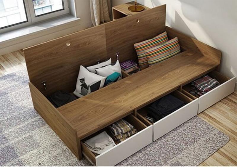 Mẫu giường ngủ gỗ công nghiệp có ngăn kéo được thiết kế cánh mở giúp bạn dễ dàng lấy đồ