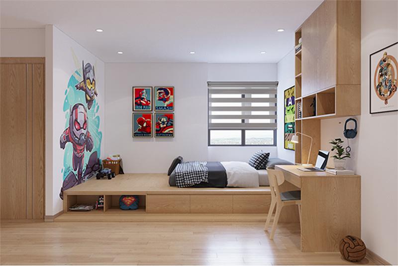 Mẫu thiết kế giường có ngăn kéo kịch tường 1 tạo khoảng rộng cho bé vui chơi