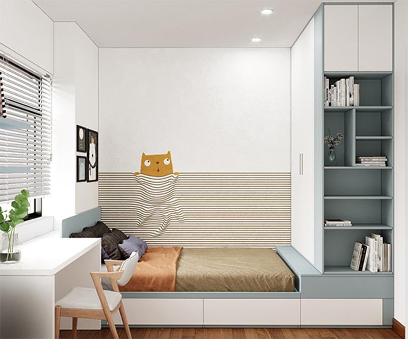 Mẫu giường gỗ có ngăn kéo thông minh tích hợp giá sách và tủ quần áo