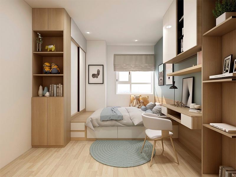 Giường gỗ công nghiệp có ngăn kéo liền tủ