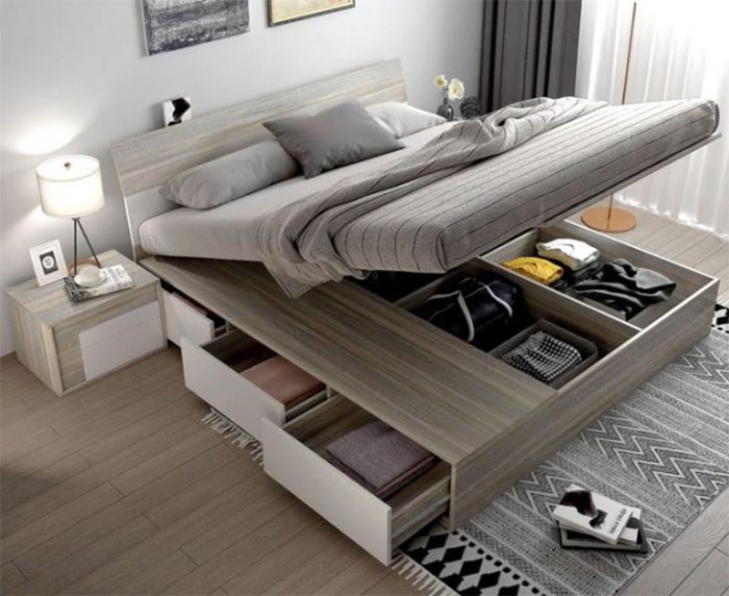 Vẻ đẹp sang trọng của mẫu giường gỗ công nghiệp có ngăn kéo màu xám