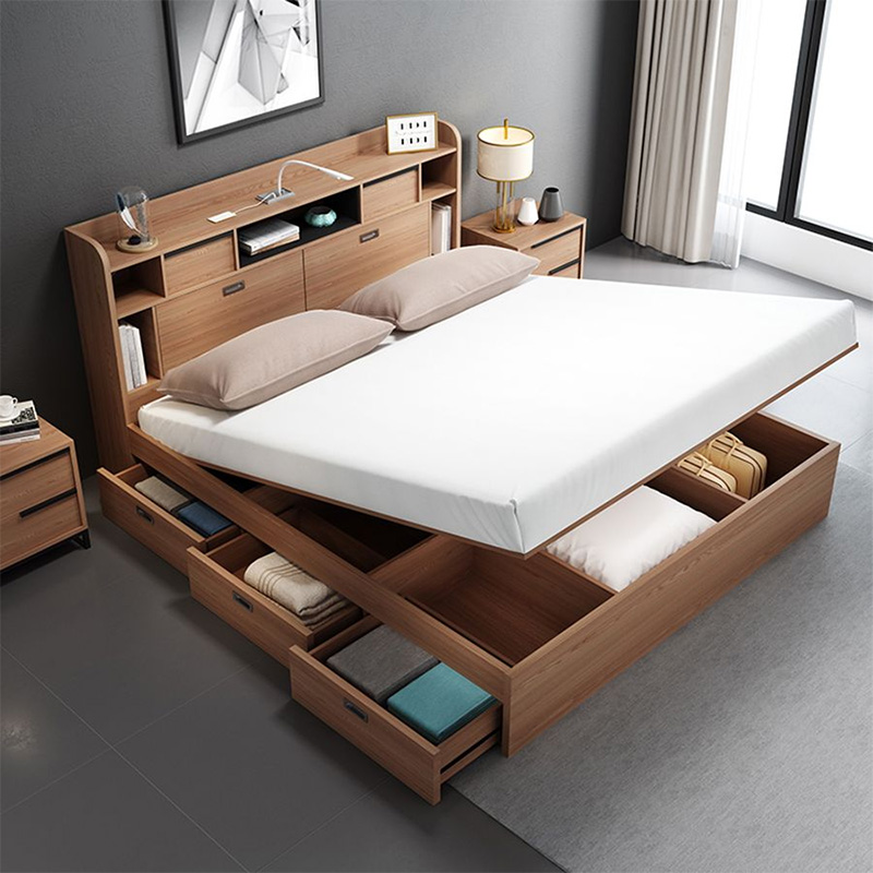 Mẫu giường bọc nệm có ngăn kéo