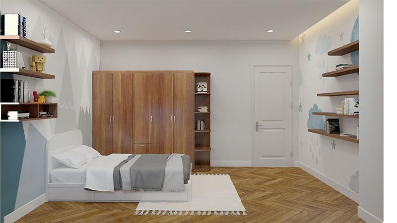 Mẫu giường gỗ công nghiệp có ngăn kéo MDF phủ Laminate màu trắng đầy sang trọng