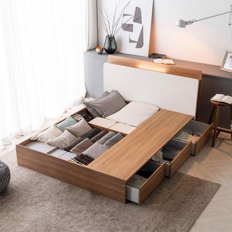 Mẫu giường ngủ có ngăn kéo vân gỗ