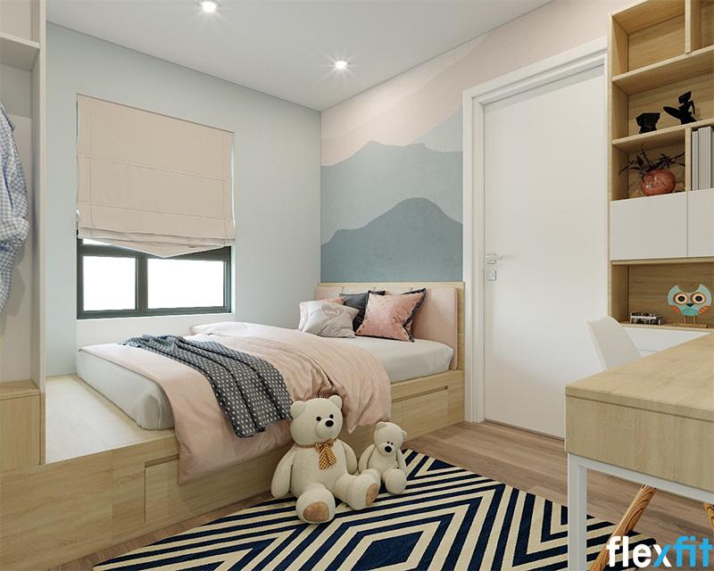 Mẫu giường có ngăn kéo tích hợp với tủ quần áo cuối giường