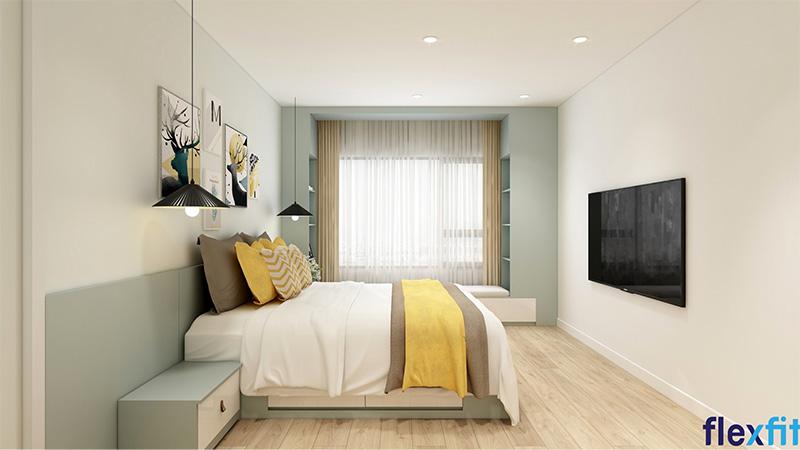 Mẫu giường ngủ công nghiệp có ngăn kéo màu pastel nhẹ nhàng