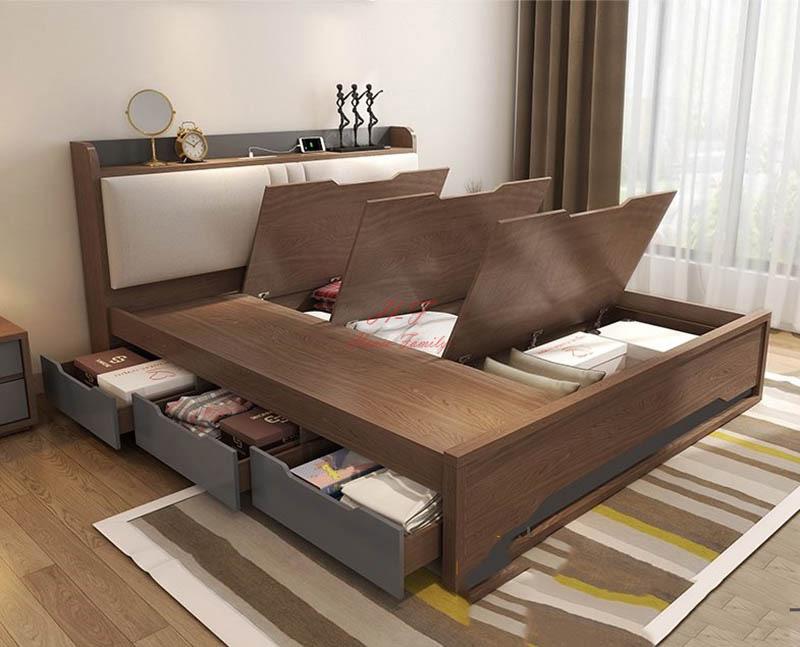 Mẫu giường 6 ngăn kéo gỗ công nghiệp giúp tối ưu diện tích hiệu quả
