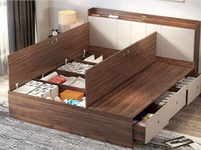 Giường ngủ có ngăn kéo gỗ MDF phủ Laminate