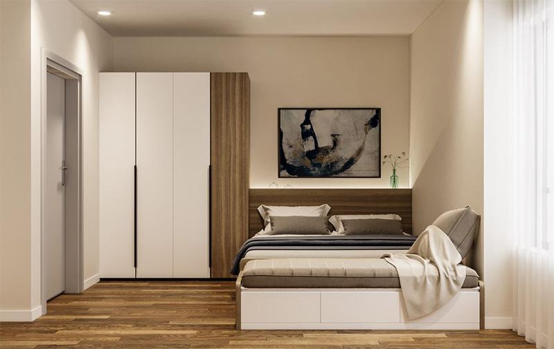 Mẫu giường ngủ gỗ công nghiệp có ngăn kéo màu trắng sang trọng
