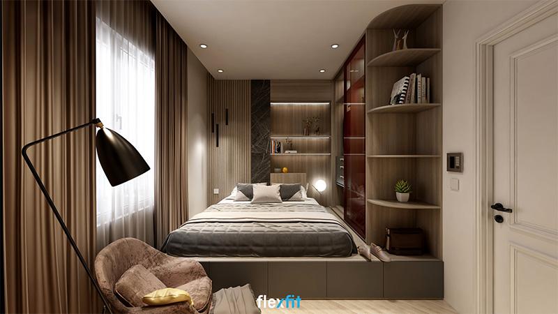 Mẫu giường ngủ gỗ công nghiệp có ngăn kéo tích hợp hệ tủ quần áo và kệ trang trí màu vân gỗ nâu trầm