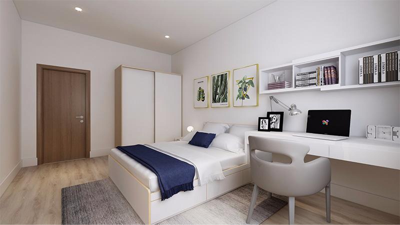 Mẫu giường ngủ gỗ công nghiệp có ngăn kéo cốt gỗ MDF phủ Melamine màu trắng