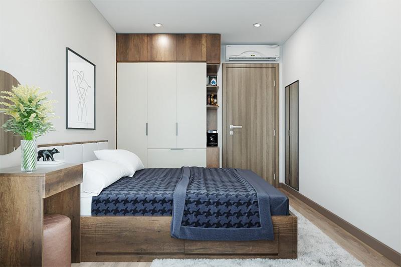 Mẫu giường ngủ gỗ công nghiệp có ngăn kéo MDF cao cấp phủ melamine màu vân gỗ nâu trầm sang trọng