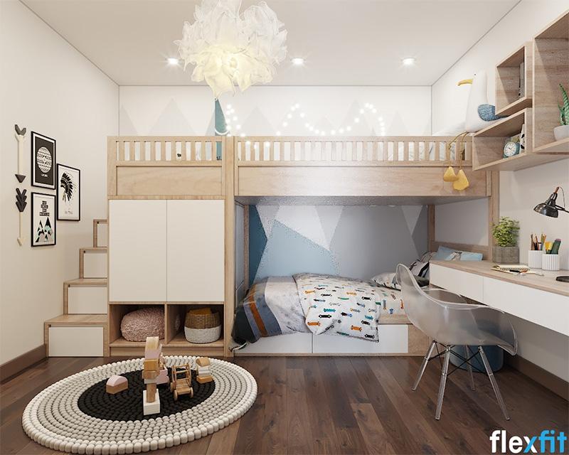 Mẫu giường tầng có ngăn kéo thiết kế theo hướng Vintage