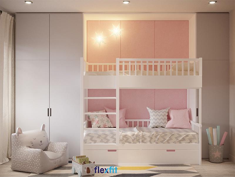 Giường tầng gỗ công nghiệp có ngăn kéo cho bé gái