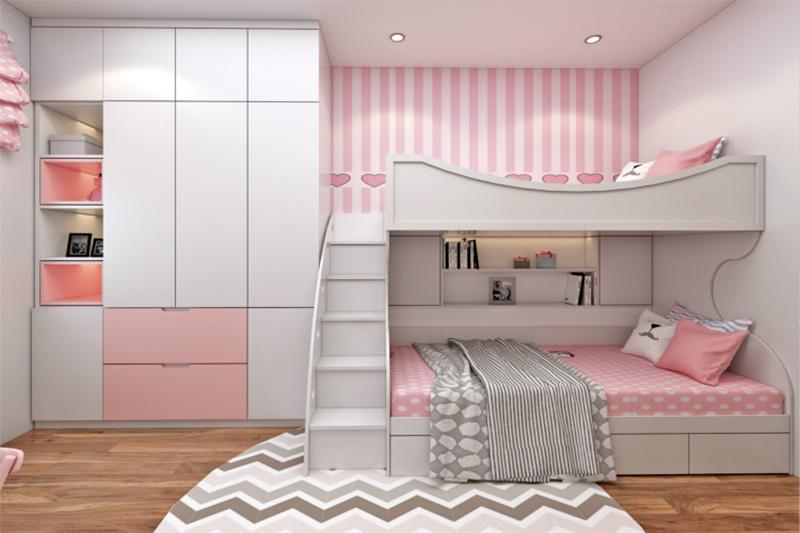 Mẫu giường tầng có ngăn kéo tích hợp kệ để đồ cho bé gái