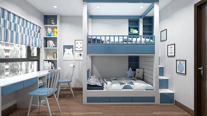 Mẫu giường hai tầng tích hợp ngăn kéo được làm từ MDF phủ melamine màu xanh dương và trắng thanh nhã