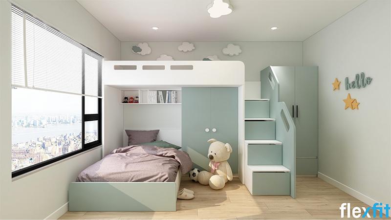 Mẫu giường ngủ gỗ công nghiệp có ngăn kéo màu xanh mint nhẹ nhàng