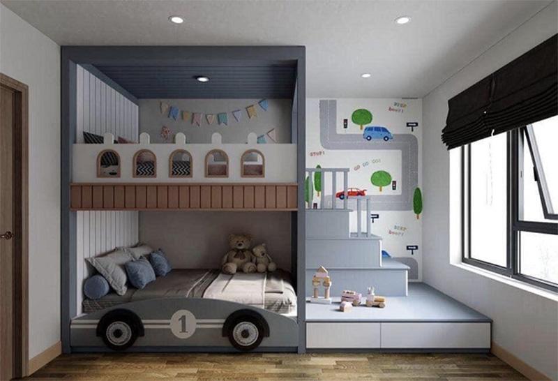 Giường gỗ công nghiệp có ngăn kéo được thiết kế sáng tạo giống như một chiếc ô tô cho bé trai