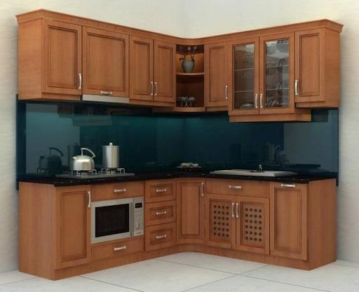 Tủ bếp được làm bằng gỗ sồi chắc chắn cùng kích thước nhỏ nên rất phù hợp những không gian có diện tích hạn chế.