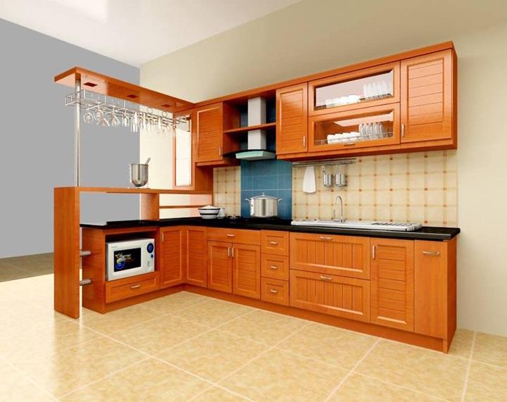 Tủ bếp được tích hợp thêm quầy bar vừa đảm bảo công năng vừa mang lại vẻ đẹp thẩm mỹ cao.