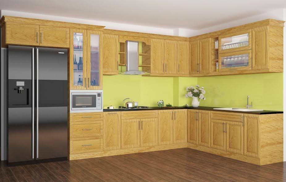 Sở hữu màu gỗ sáng cùng những đường vân sắc nét mang lại vẻ đẹp thanh lịch đầy ấm cúng cho mọi căn bếp.