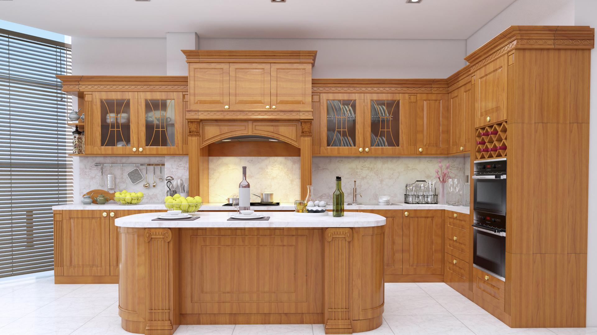 Sở hữu thiết kế hiện đại bàn đảo phá cách, tủ bếp mang lại vẻ đẹp sang trọng, tiện nghi cho căn bếp.