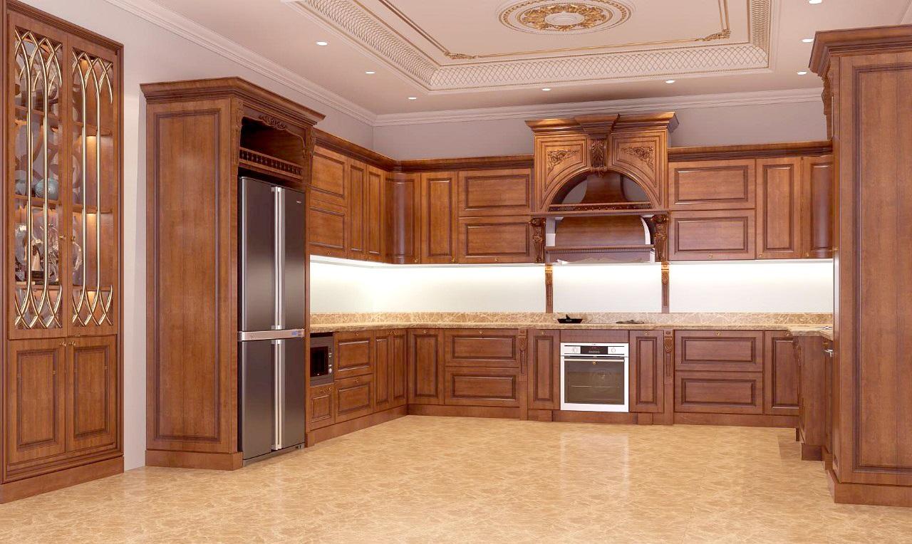 Mẫu tủ bếp chữ U với màu cánh gián mang lại không gian bếp đầy ấn tượng.